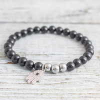 Black onyx beaded stretchy bracelet with micro pave Hamsa hand charm, made to order yoga bracelet,  mens bracelet, womens bracelet