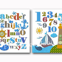 Nautical nursery alphabet artwork numbers poster baby boy room wall decor abc print kids art playroom decoration toddler baby shower gift