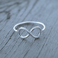 Infinity ring Sterling silver stacking LOVE by MineOverMatter