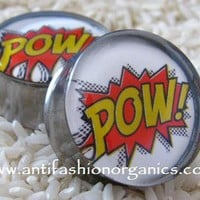 Comic action POW Plugs [Comic action POW Plugs gauges] - $19.95 : AntiFashion Organics - Organic Wood Plugs and Tunnels, Featuring Resin Picture Plugs Gauges, AntiFashion Organics - Organic Wood Plugs and Tunnels, Featuring Resin Picture Plugs Gauges
