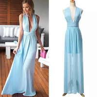 Fashion Sky Blue Deep V-Neck Tie Maxi Dress = 4765103172