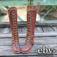 Vintage 70s ZODIAC Brown Leather Lace Up Hippie Boho Wooden Stacked Heel Knee Riding Boots 5