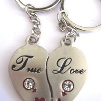 "Couple Love Keychain Key Ring Two Pieces of Heart "" True Love"", w/ Magnetic Power"