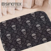 Door Floor Carpets Coral Fleece Skull Printed Pattern Floor Mat Carpet Anti-Slip Mats Home Living Room 40*60cm 1 PCS/Lot