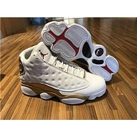 Air Jordan retro 13 basketball shoes white gold sports Sneaker Athletics Shoes size 36-47