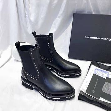 Alexander•wang 2021 Trending Women's men Leather Side Zip Lace-up Ankle Boots Shoes High Boots10170gh