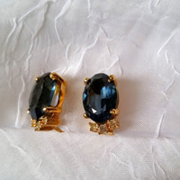 Christian Dior Vintage Earrings, Sapphire Blue Crystal, Gold Plated, Clip On, Wedding, Formal, Prom