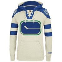 Reebok Vancouver Canucks CCM Pullover Hoodie - Natural