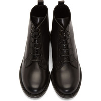 Black Leather Ranger Lace-Up Ankle Boots