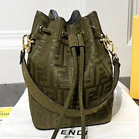 Fendi  Fashion new more letter leather shopping leisure shoulder bag crossbody bag bucket bag handbag Army Green