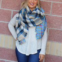 Reversible plaid blanket scarf-more colors