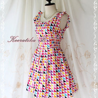 Alice Summer Dress - Beautiful Stunning Spring Summer Sundress Colorful Geometrical Print All Over Party Dancing Country Vacation Dress
