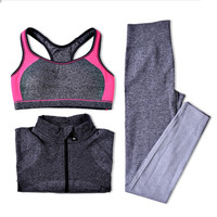 Yoga Sets Women Gym Clothes Breathable Sports Bra + Pants + Shirt Yoga Set for Gym Running Sportswear Woman Clothing Suit
