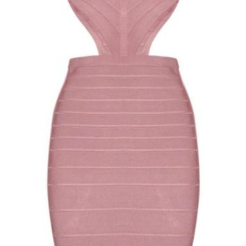 'Salana' Backless Bandage Dress - Rose