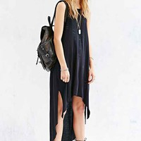 Truly Madly Deeply Knit Raw-Hem Tank Top- Black