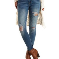 Destroyed Mid-Rise Skinny Jeans - Med Destroy Denim