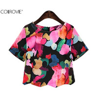 Sweet Summer Style Color Shirt 2016 Female Multicolor Round Neck Short Sleeve Floral Printed Crop Top Blouse