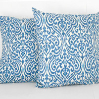 Ikat Blue Pillow Cover 16 X 16 inches
