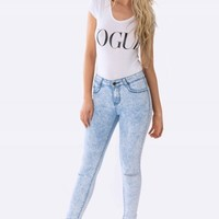 Sabrina Acid Wash Ripped Knee Jeans - Womens Ripped Jeans | South Avenue