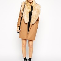 ASOS Cocoon Coat With Oversized Faux Fur Collar at asos.com