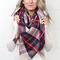 Cozy Plaid Blanket Scarf {Berry Mix}
