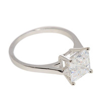 Ladies Engagement Ring CZ 8mm Square Princess Cut .925 Sterling Silver clear