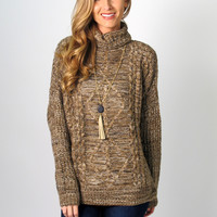 Serenity Cable Knit Sweater: Mocha