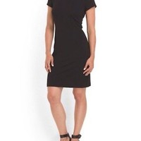 Sandra Darren Solid Black Short Sleeve Polyester Mini Cocktail Sheath Dress 14