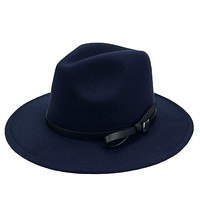 Wool Fedora Hat Wide Brim