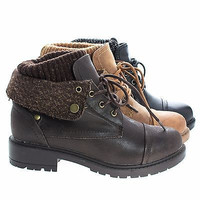 Trevor07 Lace Up Ankle Combat Boots w Lug Threaded Sole & Sweater Trim