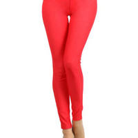 Red Front And Back Pocket Jeggings