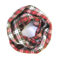 Toddler Scarf, Flannel Scarf, Unisex Child Scarf, Red and White Plaid, Children's Clothing, Kid's Holiday Scarf, Bib Scarf, Ready to Ship