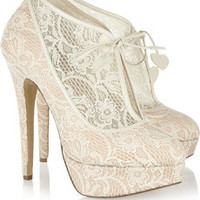 Charlotte Olympia Minerva lace and satin ankle boots – 59% at THE OUTNET.COM