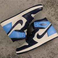 Air Jordan 1 Retro High Og Obsidian 555088 140 Unc Sneakers - Best Deal Online