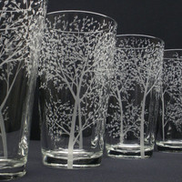 4 Pint Glasses Hand Engraved . 'Branches and Leaves' . Bridesmaid and Groomsmen Gift