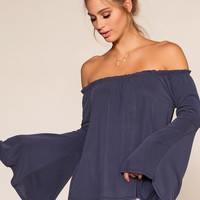 Kai Off The Shoulder Top - Navy