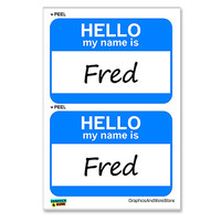 Fred Hello My Name Is - Sheet of 2 Stickers