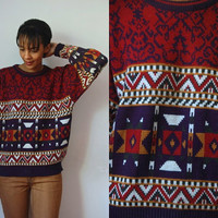 Vtg Tribal Mix Print Red Green Navy White Grandpa Sweater
