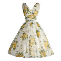 Vintage 1950's White Chiffon Yellow Roses Cocktail Dress