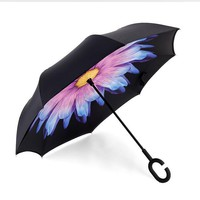 Windproof Reverse Folding Double Layer Inverted Umbrella Self Stand umbrella rain sun women men high quality 2016 Child durable