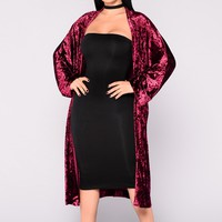 Jayden Velvet Duster Sweater - Burgundy