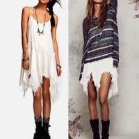 white dress  women dress summer dress sexy asymmetrical glamorous folk
