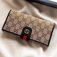 GUCCI New fashion stripe more letter canvas wallet purse handbag