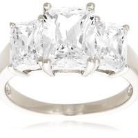 Platinum-Plated Sterling Silver and Cubic Zirconia Emerald-Cut Ring