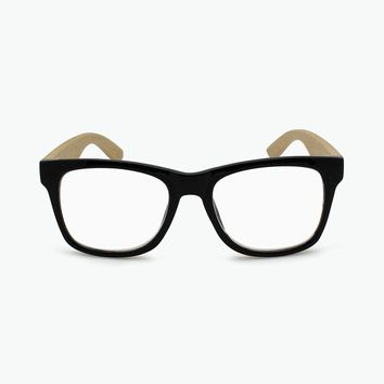 ROYAL PLASTIC FRAME SQUARE READING GLASSES WITH WOODLIKE TEMPLES R-524