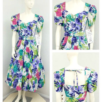 Vintage NOS 80s Does 50s White Floral Dress, Full Circle Dress, 50s Style Dress, New Look Dress, Midi Dress, Puff Sleeve, Size M