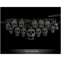 Skulls Cluster Black Goth Fashion Crystal Bracelet - 6.5in