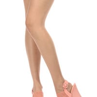 Peach Faux Suede Sling Back Mesh Strap Wedges