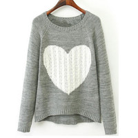'The Donetta'  Gray Heart Printed Long Sleeve Knitted Pullover