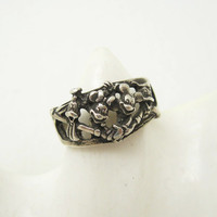 Vintage Sterling Disney Ring Mickey Minnie Donald Goofy Band R6706